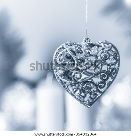 Christmas toy in the form of heart - stock photo