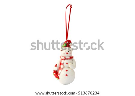 Christmas toy on the Christmas tree snowman isolated on the white background.