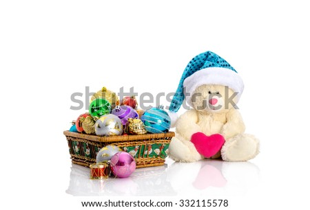 Christmas toys and decorations, teddy bear in santa hat
