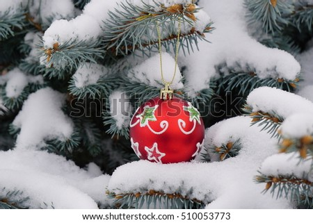 Christmas toys on a snow-covered branches of blue spruce