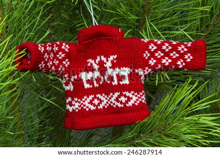 Christmas toys, sweater with deers - stock photo