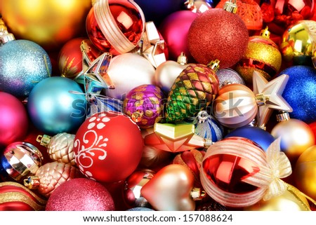 Christmas toys texture background - stock photo