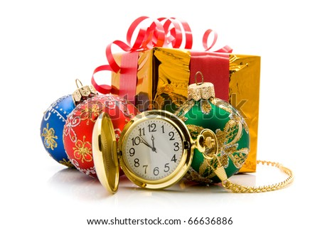 christmas toys with a clock on a white background