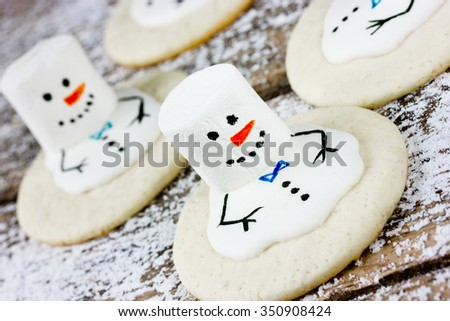 Christmas treats. Funny snowman made of cookies and marshmallow closeup - stock photo