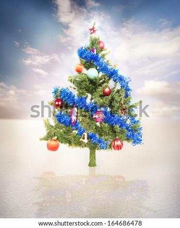 Christmas tree . - stock photo