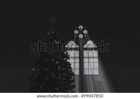 Christmas Tree And A Gothic Window 3D Illustration