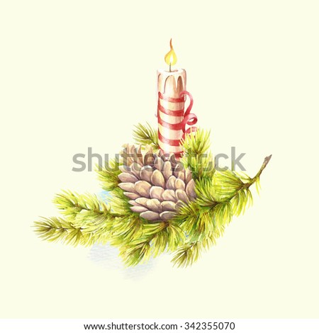 Christmas tree and candle. Watercolor illustration - stock photo
