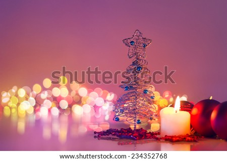 Christmas tree and candlelight .Romantic new year night and bokeh background - stock photo