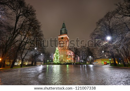 Christmas tree and cathedral square in Turku - stock photo