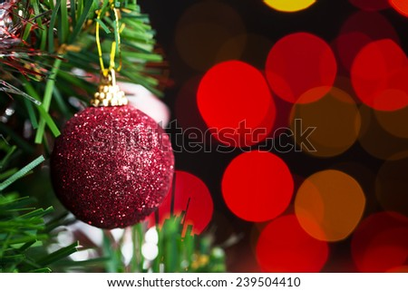 Christmas tree and Christmas decorations on abstract background - stock photo