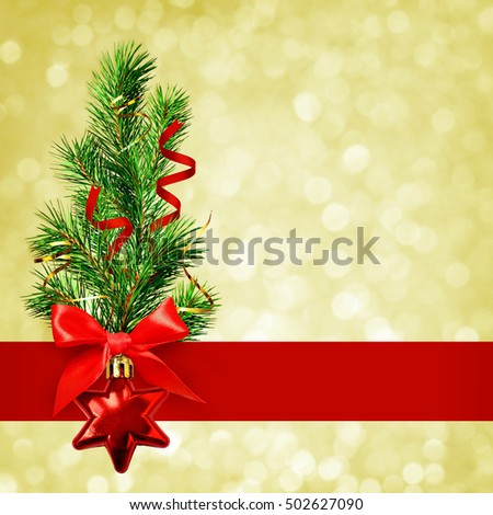 Christmas tree and decorations on holiday background