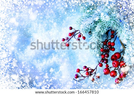 Christmas Tree and Decorations over Snow background. Winter frame - stock photo