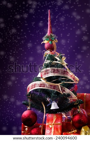 Christmas tree and gift boxes, background at snowflakes... - stock photo