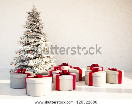 Christmas tree and gifts in the room, rendering - stock photo