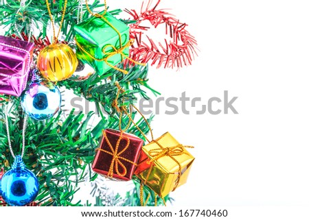 Christmas tree and gifts on white background.