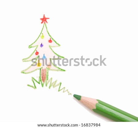 christmas tree and green pencil - stock photo