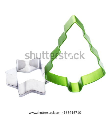 Christmas Tree and Star cookie cutter isolated on white background. Tree shaped Cookie form.