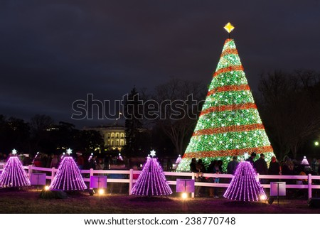 Christmas Tree and White House at night - Washington DC, United States of America - stock photo