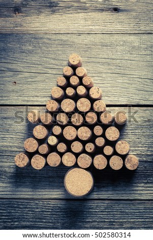 Christmas tree arranged with wine cork