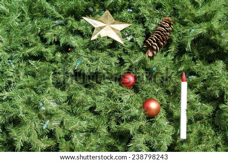 Christmas tree background with ornaments and lights. Great for use as background.