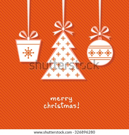 Christmas tree, ball, gift with ribbon and bow. Greeting, invitation cute card. Original design element. Decorative illustration for print, web - stock photo