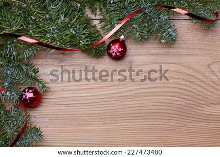 christmas tree ball red green wood - stock photo