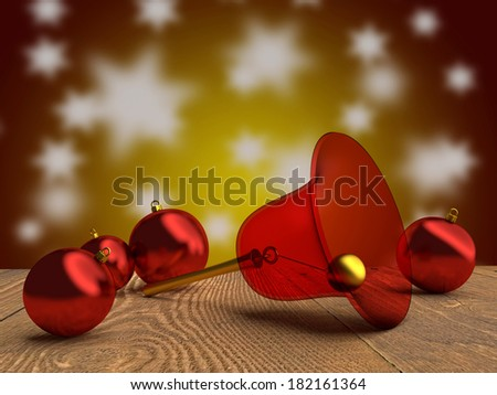 Christmas tree balls and a bell in red and gold. - stock photo