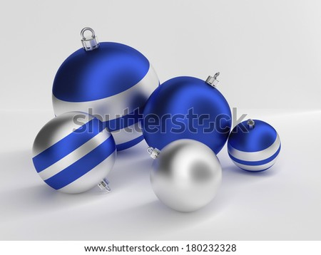 Christmas tree balls in blue  and silver. - stock photo