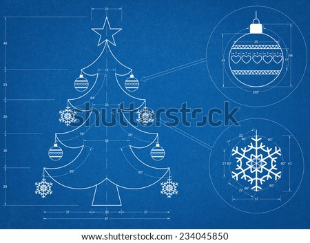 Christmas Tree Blueprint - stock photo
