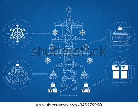 Christmas tree 2016 - blueprint - stock photo