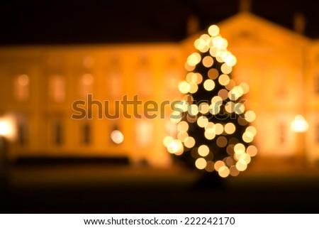 christmas tree blur (bokeh effect) - stock photo