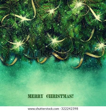 Christmas Tree Border over Vintage background. - stock photo