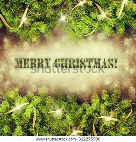 Christmas Tree border over Vintage background - stock photo