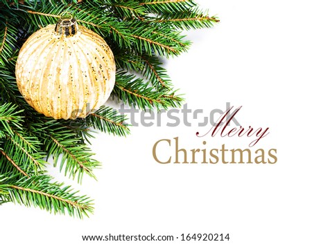 Christmas Tree Border with  festive ornaments isolated on white background with copy space for text (with easy removable sample text) - stock photo