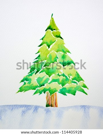 Christmas Tree by watercolor painting - stock photo