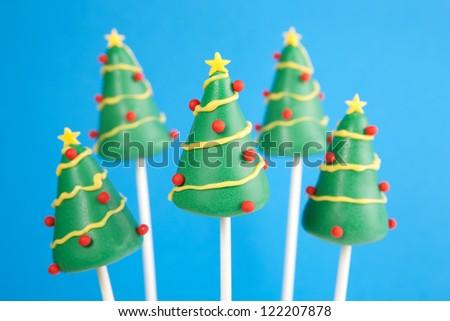 Christmas tree cake pops - stock photo