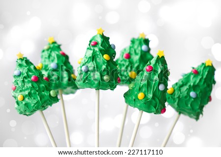 Christmas tree cake pops against white