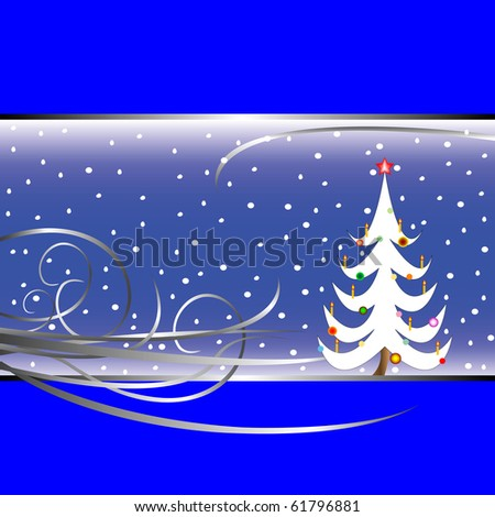 christmas tree card on blue background, abstract art illustration; for vector format please visit my gallery