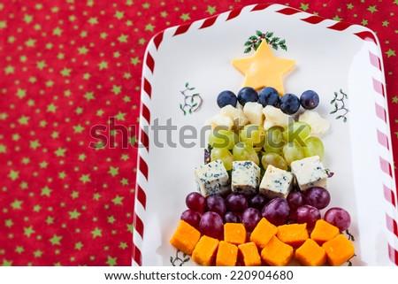 Christmas tree cheese platter - stock photo