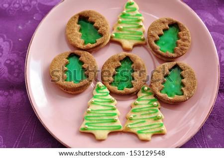 Christmas Tree Cookies - stock photo