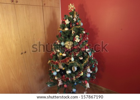 Christmas tree decorated for the holidays