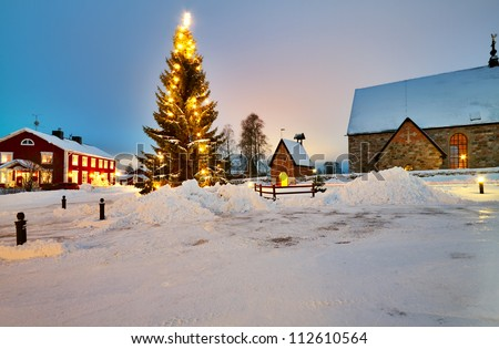 Christmas tree decorated in Church Village of Gammelstad, Lulea; Sweden. - stock photo