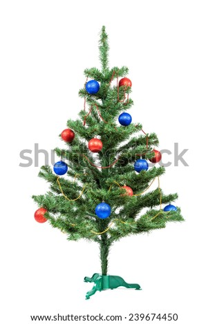 Christmas tree decorated red and blue balls isolated on white background. - stock photo