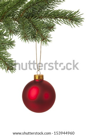 Christmas tree decorated with red bauble for holiday background. With copy space. - stock photo