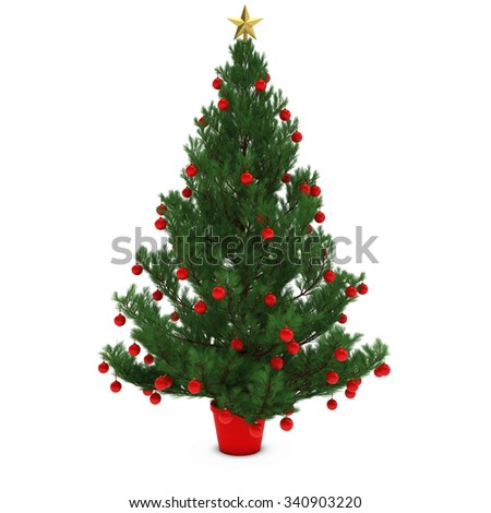 Christmas Tree Decorated with Red Baubles Isolated on White Background - stock photo