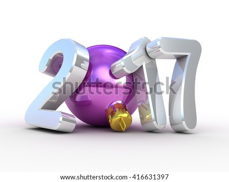 Christmas tree decoration and 2017 3D text