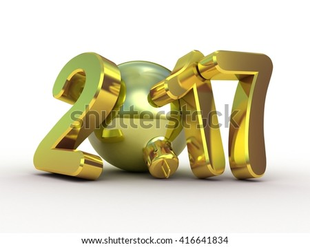 Christmas tree decoration and 2017 3D text - stock photo