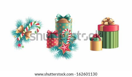 Christmas tree decoration and gift boxes, design elements set isolated on white background - stock photo