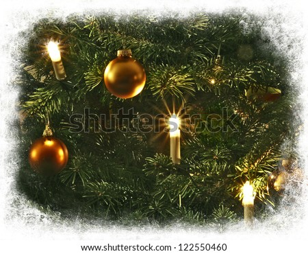 Christmas tree decoration, candles and glass balls, framed in white - stock photo