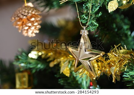 christmas tree decoration in home, closeup ornament of christmas